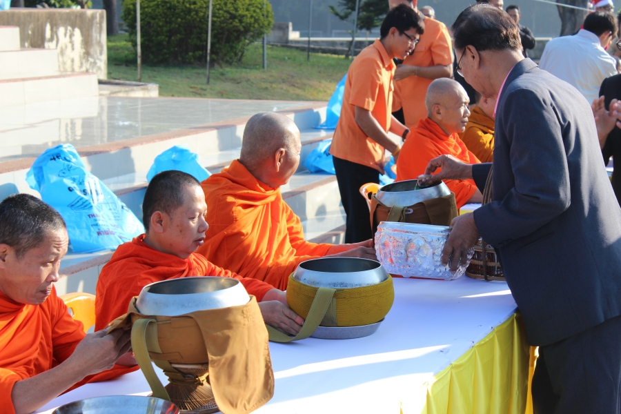 "During my school's ""Christmas"" or holiday event on the day after Christmas, students offered food to the Buddhist monks (Buddhist monks depend on the generosity of those who give). The monks then performed a ""blessing"" over the school, a form of reciprocity. It was fascinating to observe, especially as part of a ""Christmas"" or holiday event."