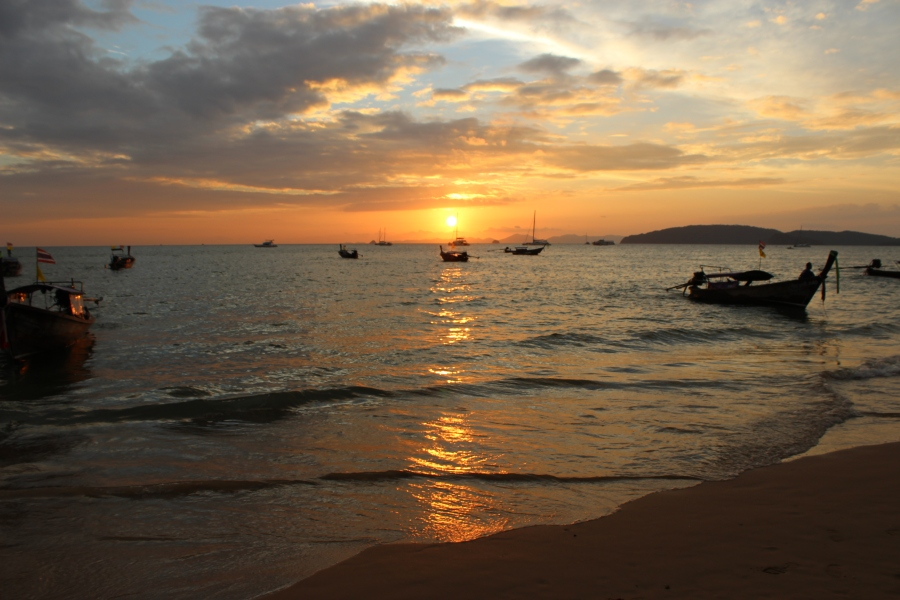 Sunset on Ao Nang beach.