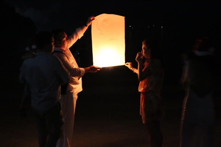 Floating lanterns on New Year's Eve.