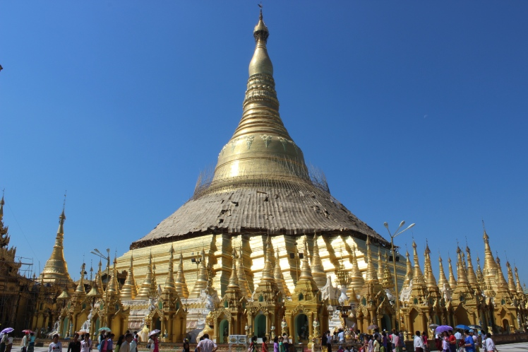 The massive Shwedagon Pagoda (or Paya), a very sacred site for Buddhists. It has a 325 ft zedi and is adorned with 27 metric tons of gold, and is said to enshrine eight hairs of the Buddha. According to legend, it's been erect for around 2600 years, although it was more likely built between the 6th and 10th centuries.