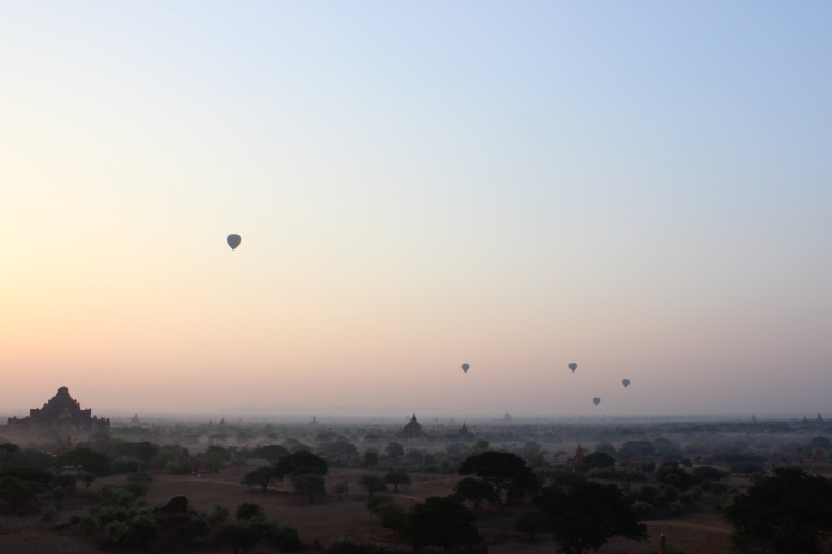 The daily hot air balloons at sunrise.